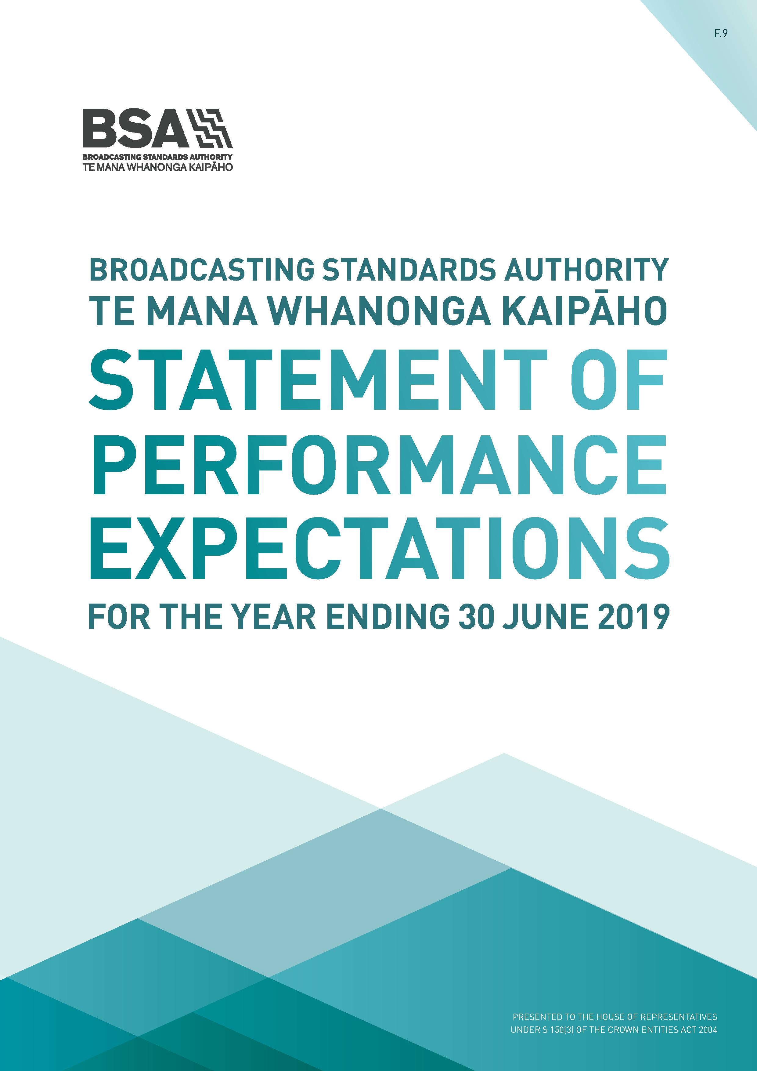 BSA Statement of Performance Expectations year ending 30 June 2019 1